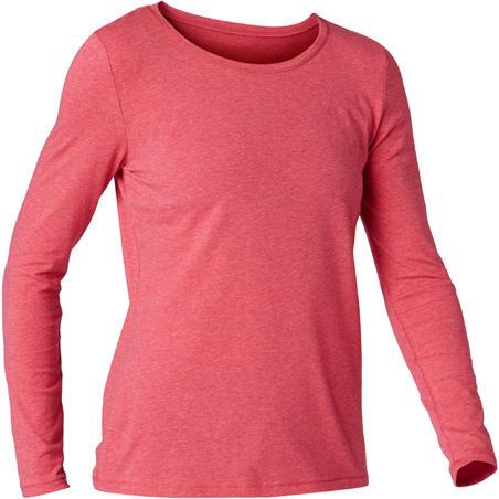 Жіноча футб 100 для пілатесу і легкої гімнастики з довгим рукавом - Темно-рожева