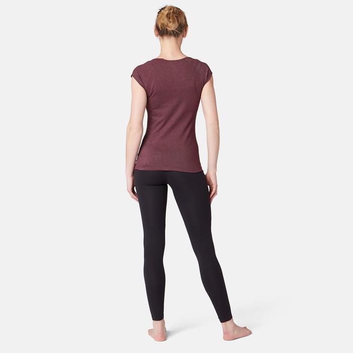 T-Shirt 500 Slim Pilates sanfte Gym Damen bordeauxmeliert