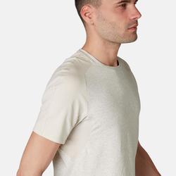 T-shirt 520 regular fit pilates en lichte gym heren gemêleerd beige