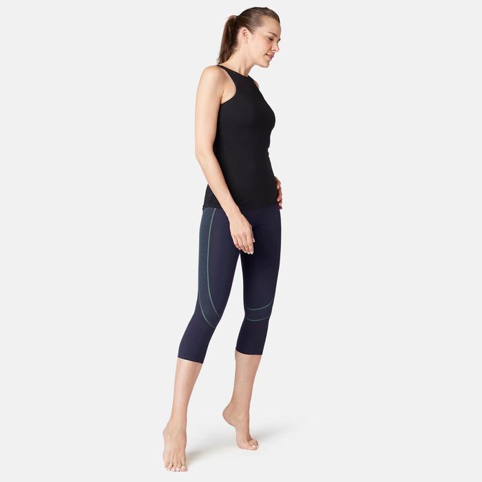 Mallas Piratas Leggings Deportivos Gimnasia Pilates Domyos 560 Slim Mujer Azul