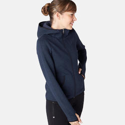 Women's Hooded Gentle Gym & Pilates Spacer Jacket 900 - Navy Blue