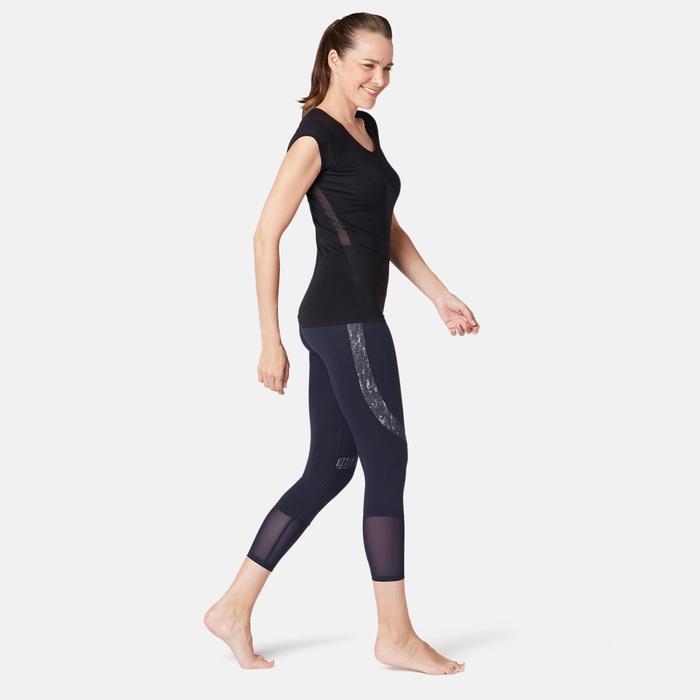 Legging 7/8 520 slim Fitness femme bleu marine