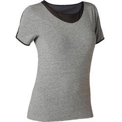 Dames T-shirt 520 met tule voor pilates/lichte gym grijs