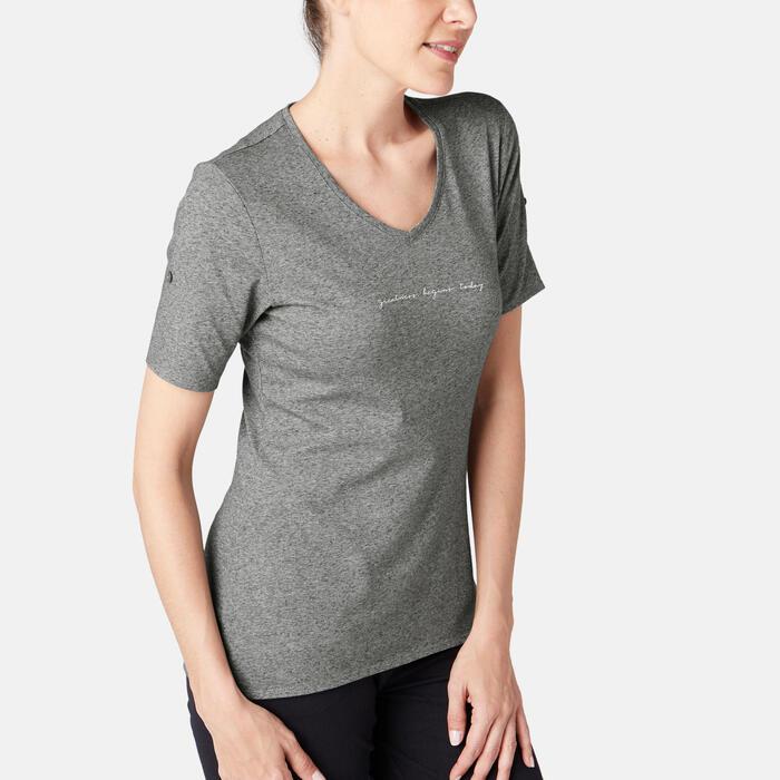 T-shirt voor pilates/lichte gym dames 500 regular fit neps grijs met print