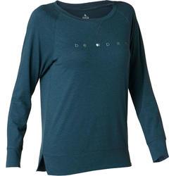 T-Shirt 500 manches longues Pilates Gym douce femme bleu canard printé