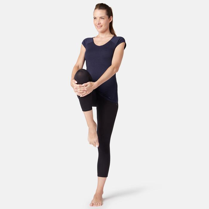 T-Shirt 530 dévoré Pilates Gym douce femme bleu marine chiné