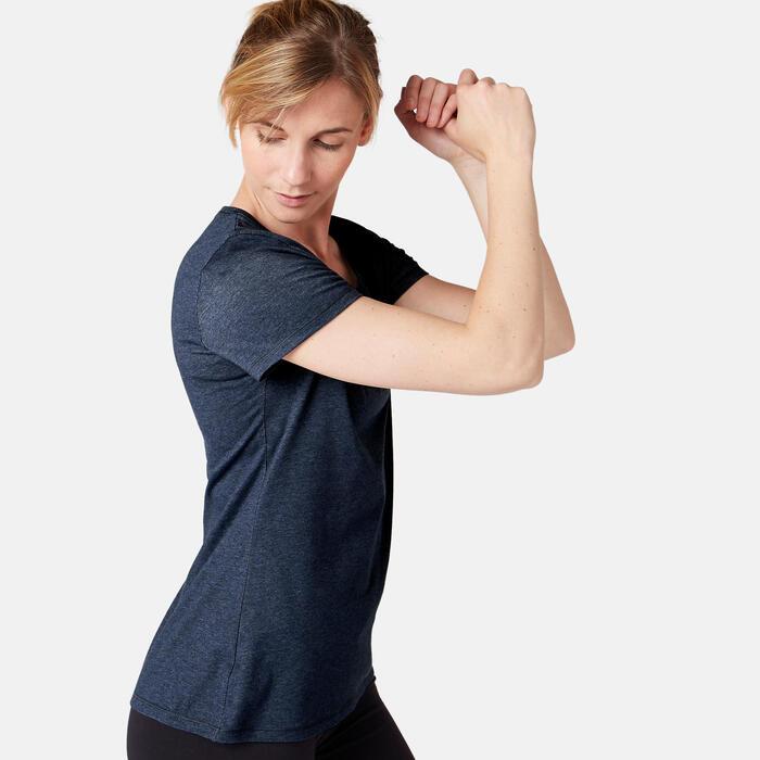 T-Shirt 500 regular Pilates Gym douce femme bleu foncé