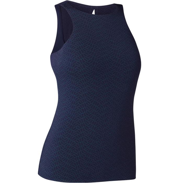 Camiseta sin mangas 560 top integrado Pilates y Gimnasia suave mujer azul marino