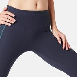 Modellerende legging voor pilates en lichte gym dames slim fit marineblauw