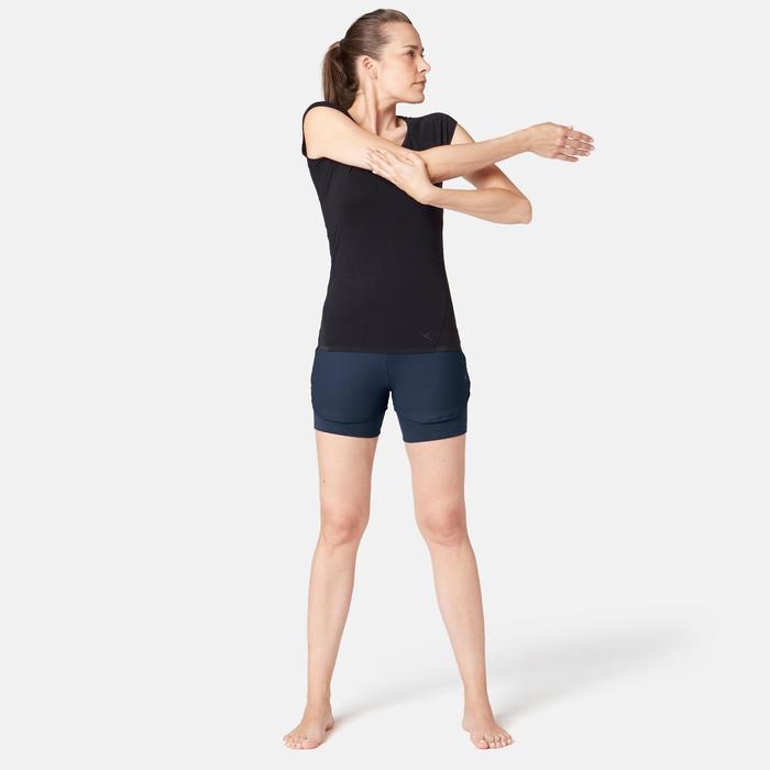 Damesshort 520 voor pilates/lichte gym marineblauw