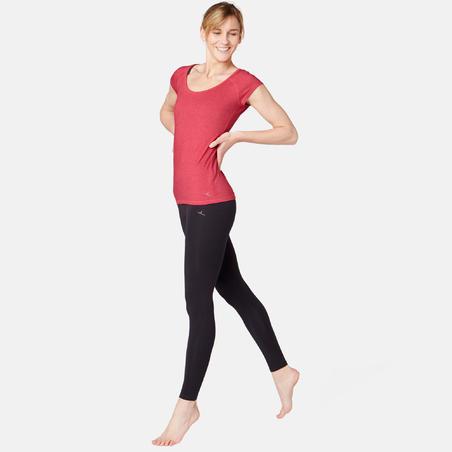 T-shirt 500 ajusté pilates gym douce femme rose chiné