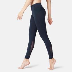 Dameslegging voor pilates en lichte gym 520 slim fit marineblauw met print