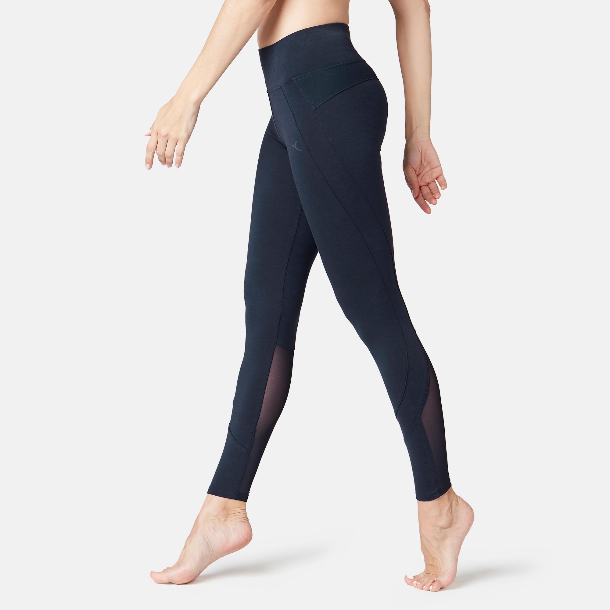 Legging sport taille haute 520 femme en coton bleu marine domyos