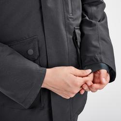 男童款極致保暖雪地健行外套SH500(7到15歲)-灰色。