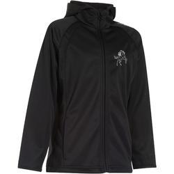 Softshell 500 jas voor kinderen, ruitersport, zwart