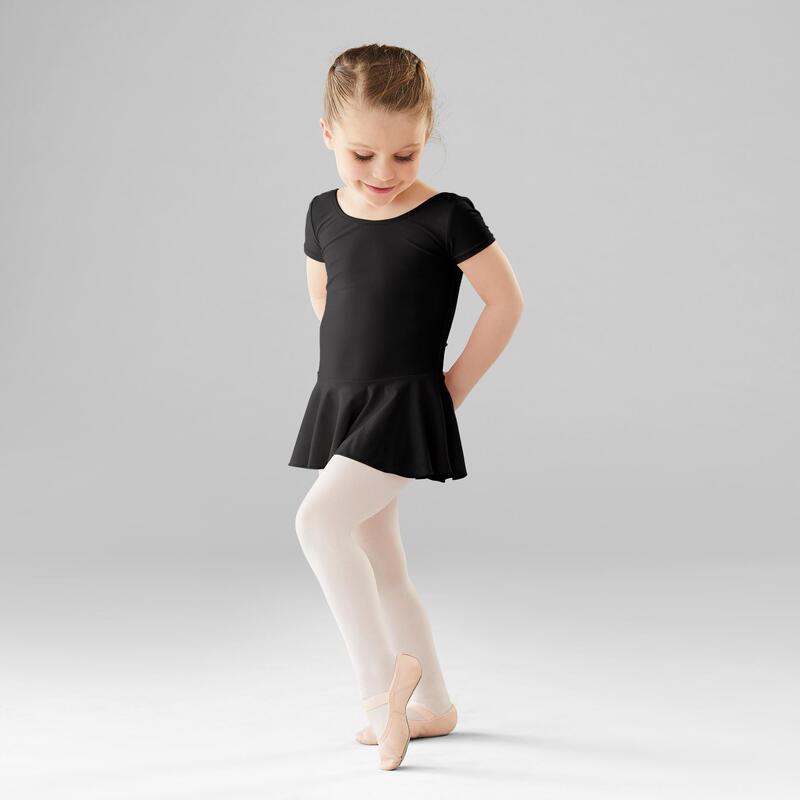 Body manica corta con gonnellino bambina danza classica nero