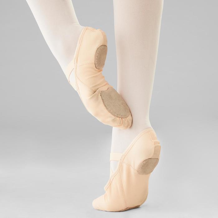 Demi-pointes voor ballet splitzool stretch canvas zalmroze maat 28-40