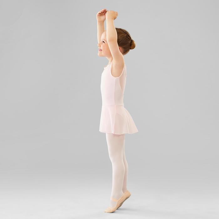 Balletpakje met rokje in twee stoffen voor meisjes roze