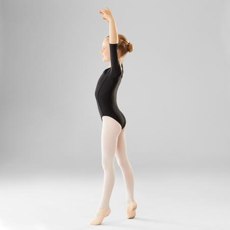Long-Sleeved Ballet Leotard Black - Girls
