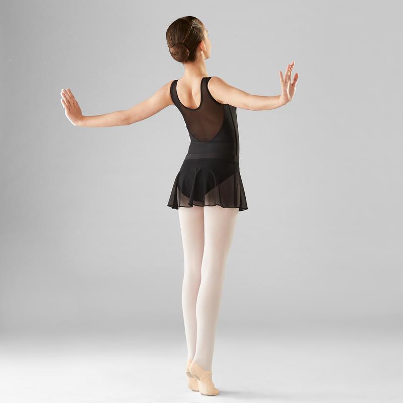 Falda de danza clásica de gasa niña color negro