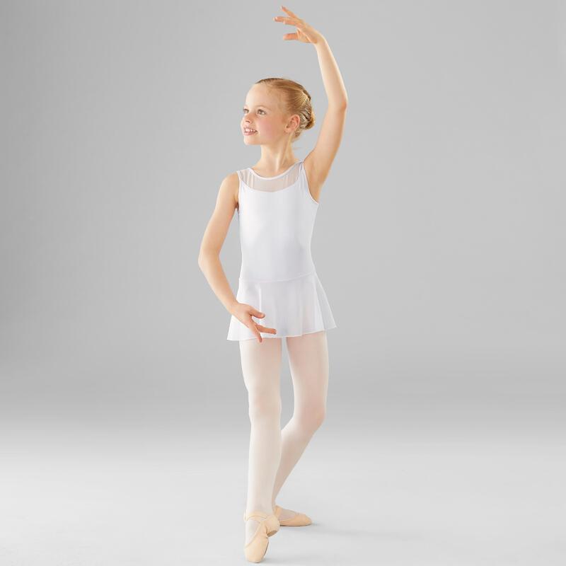 Girls' Mixed Media Ballet Skirted Leotard - White