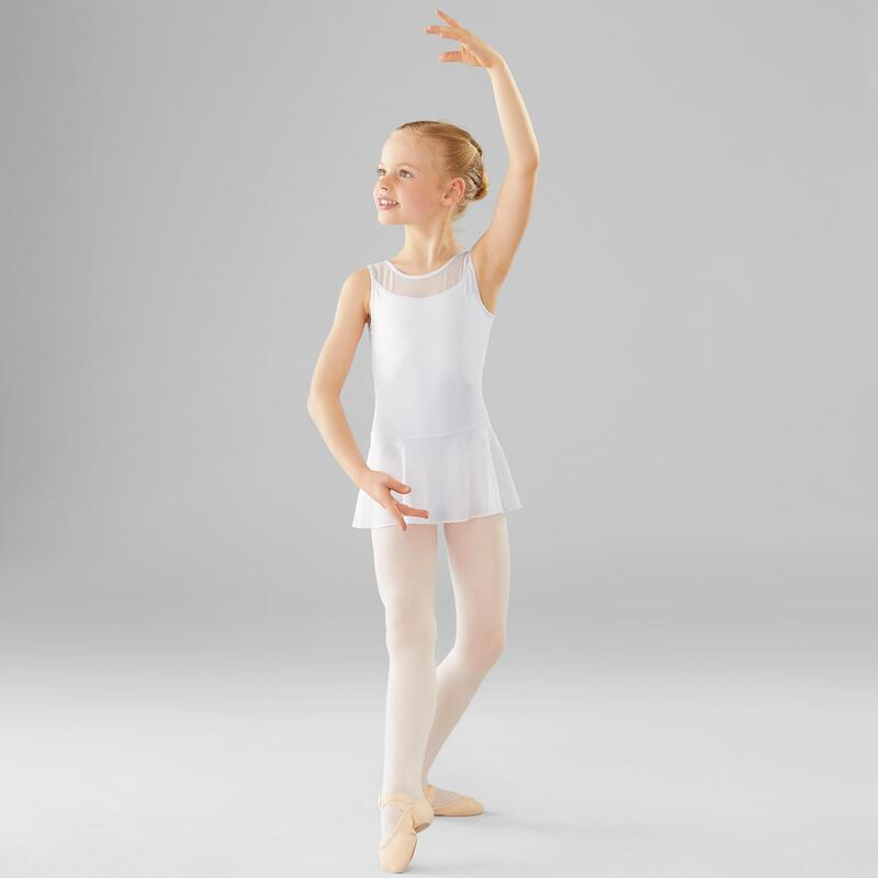 Tunique danse classique blanche bi-matière fille