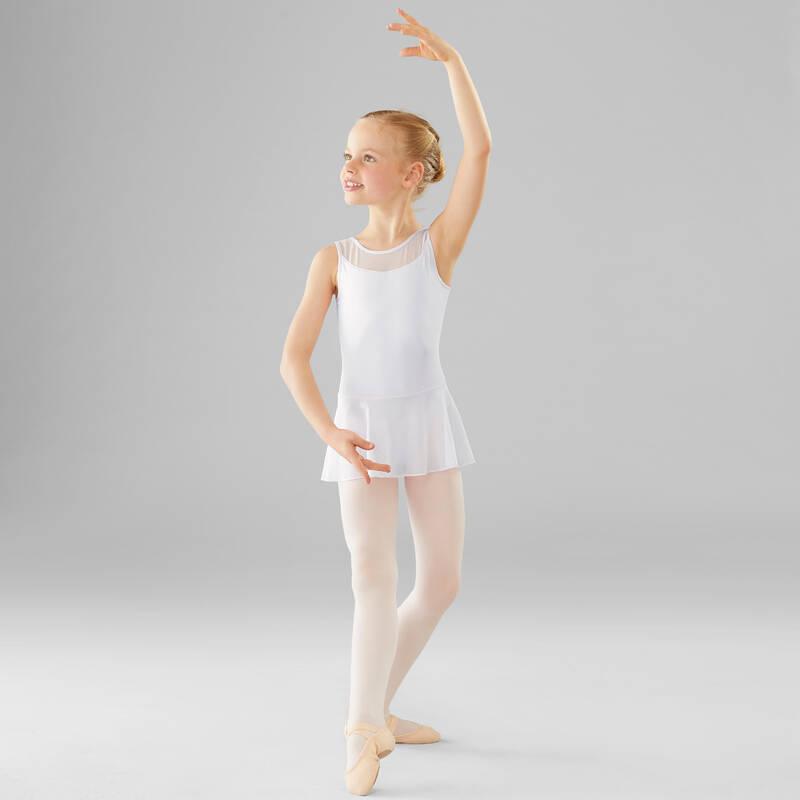 DÍVČÍ TRIKOTY, OBLEČENÍ NA BALET Balet - BALETNÍ DRES SE SUKÉNKOU BÍLÝ DOMYOS - Balet