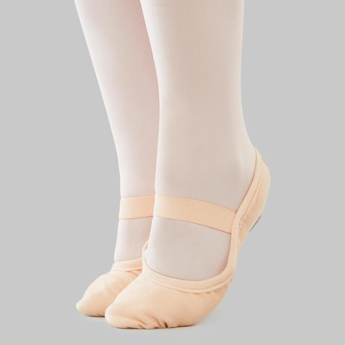 Balletschoenen canvas demi-pointes met hele zool zalmroze maat 25-40