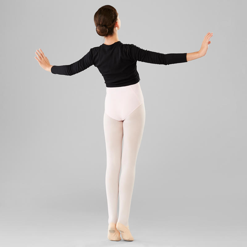 Girls' Ballet Wrap-Over Top - Black
