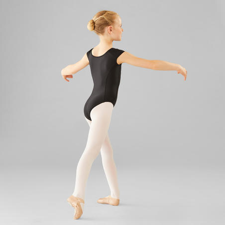 Short-Sleeved Ballet Leotard Black - Girls