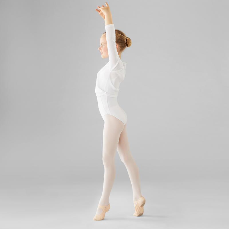 Chaqueta cruzada de danza clásica niña blanco
