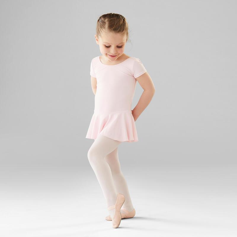 Body manica corta con gonnellino bambina danza classica rosa