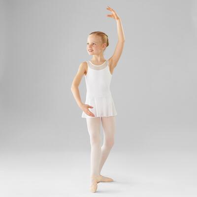 Girls' Mixed Media Ballet Leotard - White