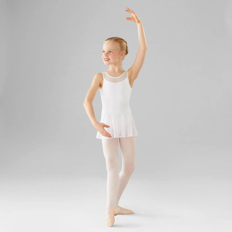 DÍVČÍ TRIKOTY, OBLEČENÍ NA BALET Balet - DÍVČÍ BALETNÍ TRIKOT BÍLÝ DOMYOS - Balet