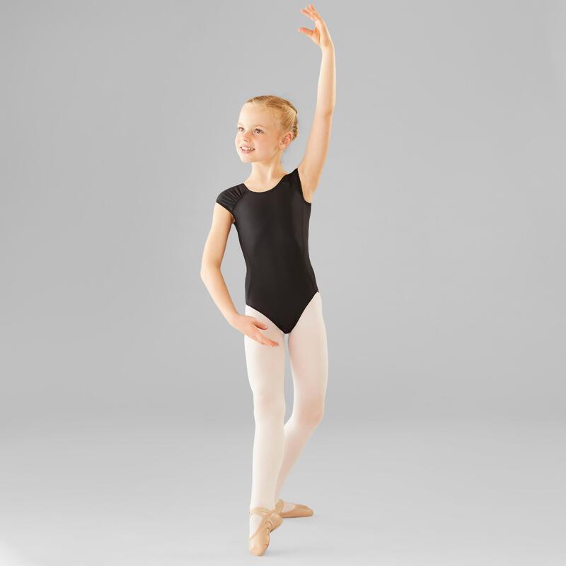 Maillot Manga Corta Ballet Domyos Niña Negro