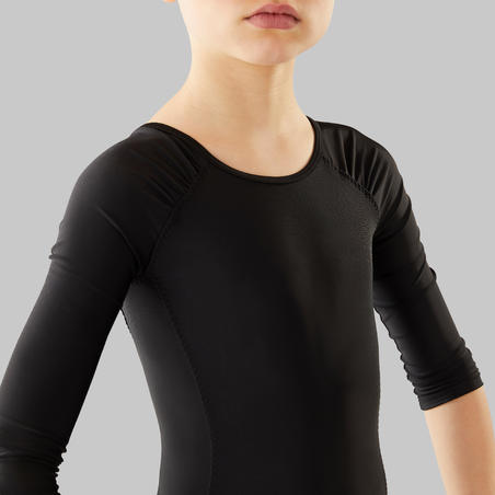 Justaucorps danse classique à manches longues noir fille