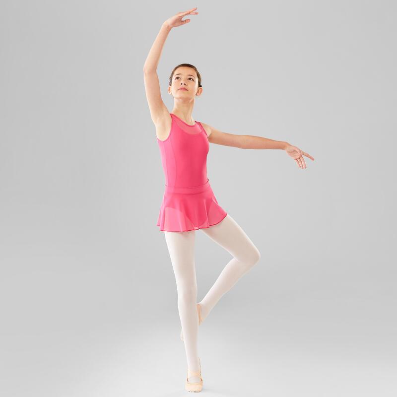 Justaucorps danse classique rose bi-matière fille
