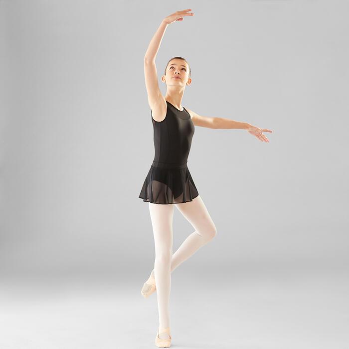 Justaucorps danse classique noir bi-matière fille