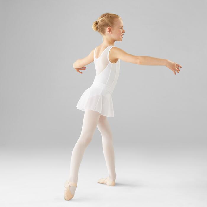 Justaucorps danse classique blanc bi-matière fille