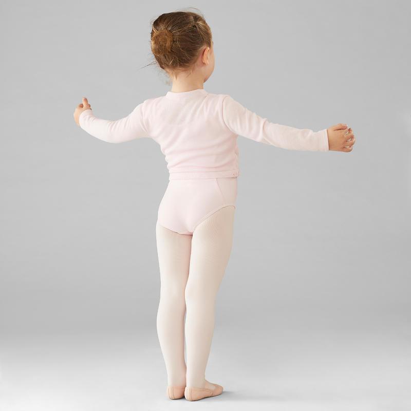 Chaqueta cruzada de danza clásica niña rosado pálido