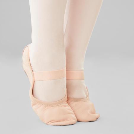Demi-pointes danse classique cuir semelle entière rose sans lien tailles 25-40