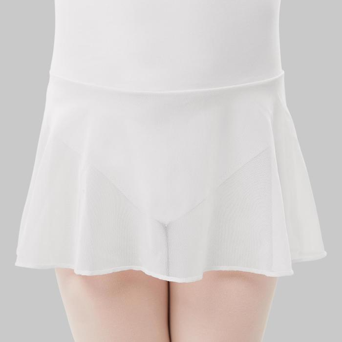Balletpakje met rokje in twee stoffen voor meisjes wit