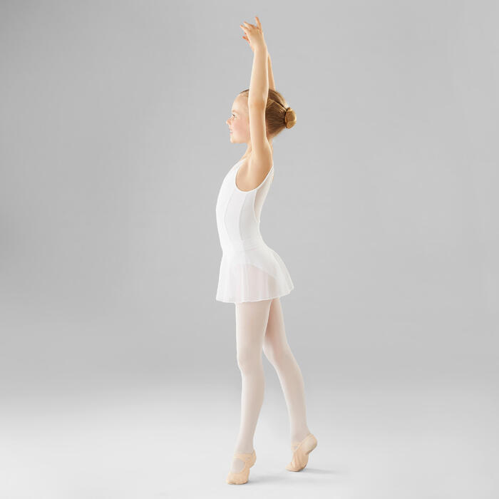 Balletpakje in twee stoffen voor meisjes wit