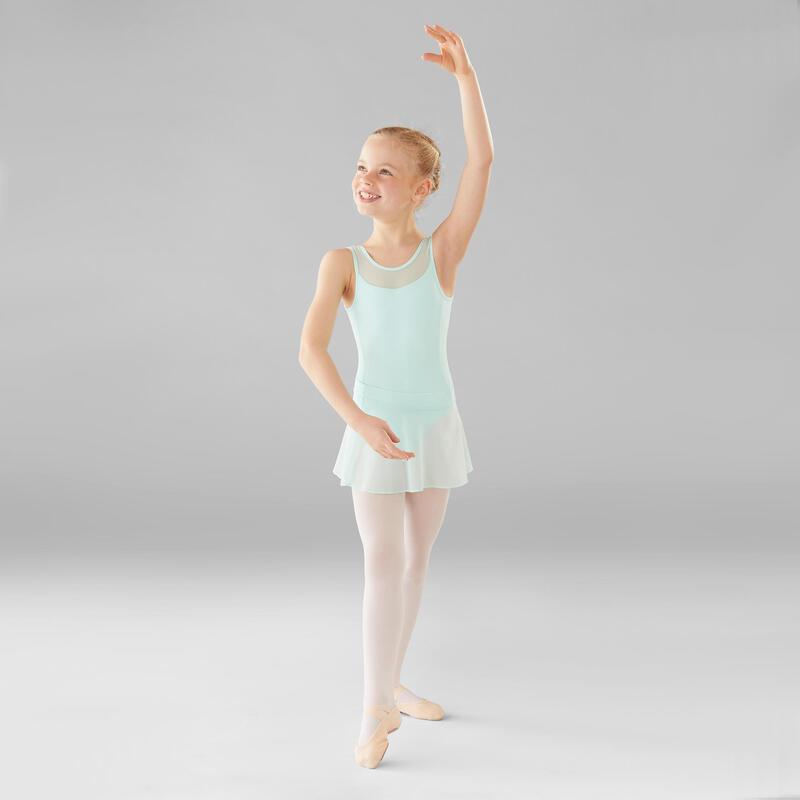 Maillot Ballet Domyos Niña Dos Tejidos Verde Claro