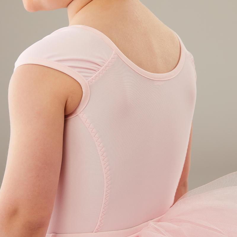 Malla de manga corta danza clásica niña rosa