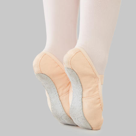 Full-Sole Canvas Demi-Pointe Shoes - Salmon