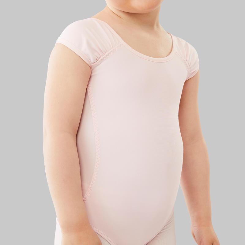 ชุดลีโอตาร์ดเต้นบัลเลต์แขนสั้นสำหรับเด็ก (สีชมพู)