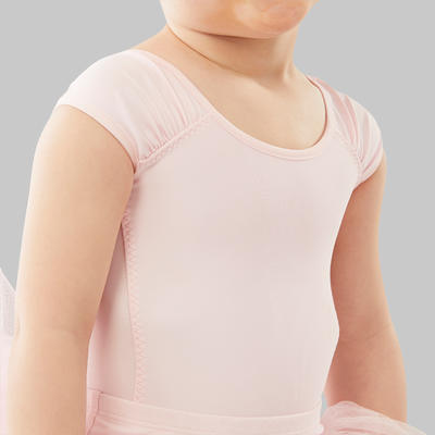 ملابس رياضة الباليه بأكمام قصيرة للبنات - وردي