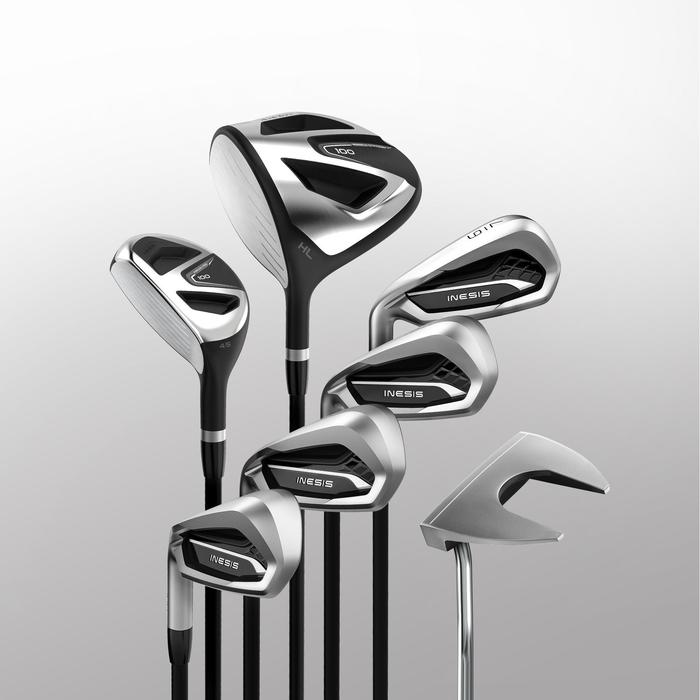 KIT DE GOLF 7 CLUBS ADULTE 100 GAUCHER TAILLE 2 GRAPHITE
