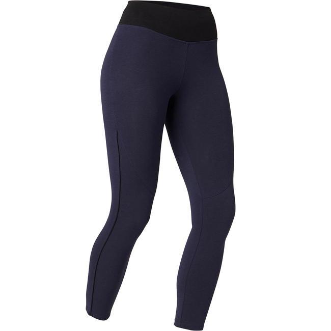 Women's Piped 7/8 Fitness Leggings 510 - Navy Blue/Black